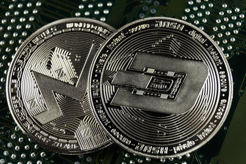De rimpeling is een moderne manier van uitwisseling en deze crypto munt stock foto