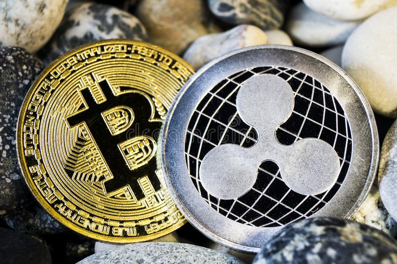 De rimpeling is een moderne manier van uitwisseling en deze crypto munt stock afbeelding