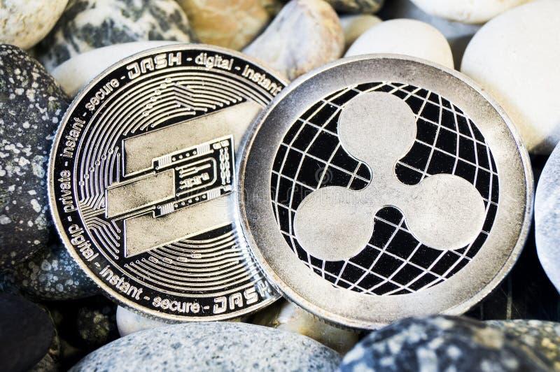 De rimpeling is een moderne manier van uitwisseling en deze crypto munt royalty-vrije stock foto