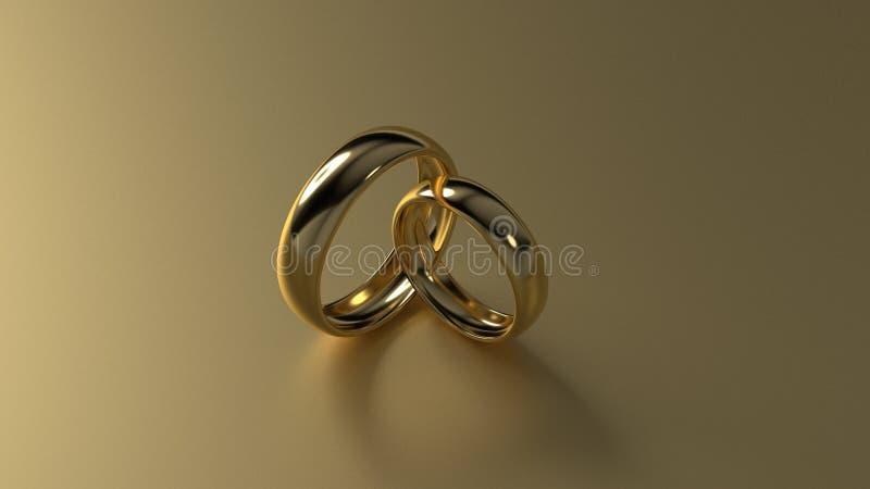 De ring van de schoonheidsgouden bruiloft op gouden achtergrond het 3d teruggeven royalty-vrije stock afbeeldingen