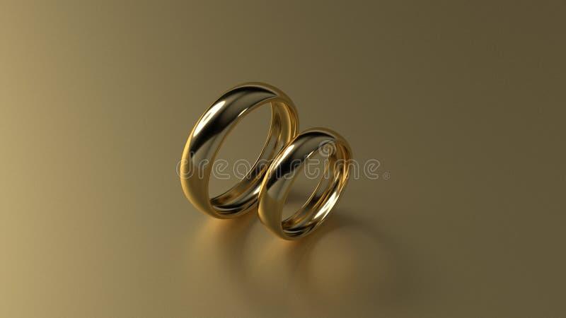 De ring van de schoonheidsgouden bruiloft op gouden achtergrond het 3d teruggeven royalty-vrije stock foto's