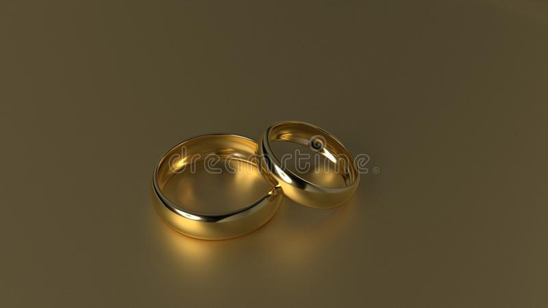 De ring van de schoonheidsgouden bruiloft op gouden achtergrond het 3d teruggeven royalty-vrije stock afbeelding
