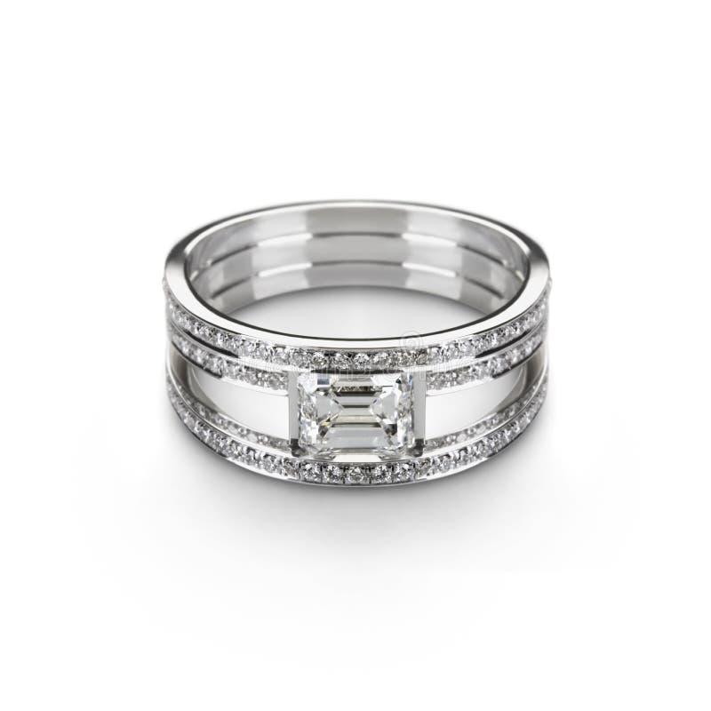 De ring van het witgoud met witte diamanten stock afbeeldingen