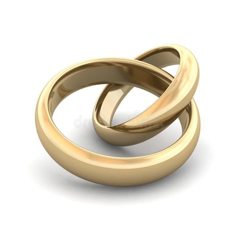 De ringen van de gouden bruiloft royalty-vrije illustratie