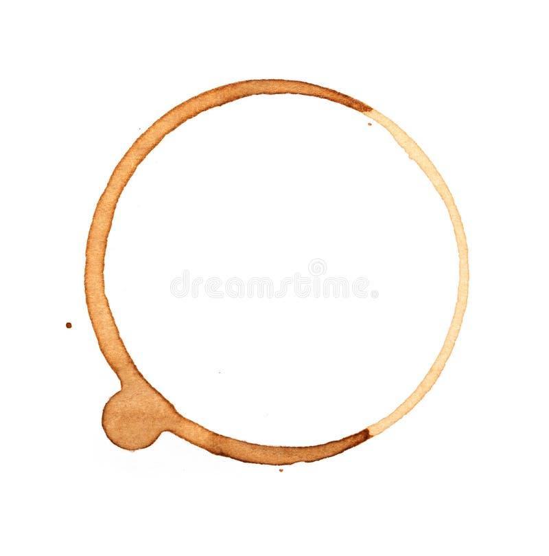 De ringen van de koffiekop op een wit worden geïsoleerd dat stock afbeeldingen
