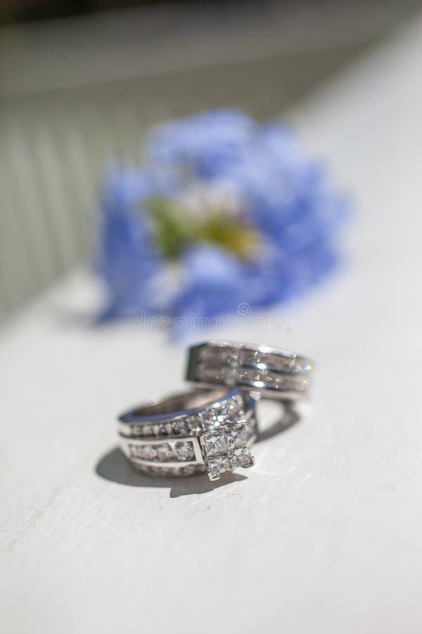 De Ringen van de zilveren bruiloft stock foto's
