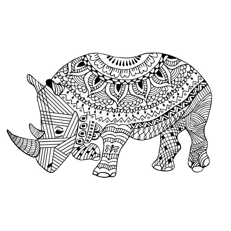 De rinoceros zentangle stileerde, hand die, zwart op wit wordt getrokken vector illustratie