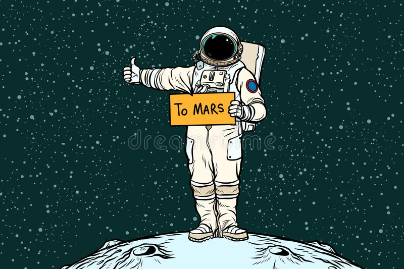 De ritten van de astronautenhapering op Mars royalty-vrije illustratie