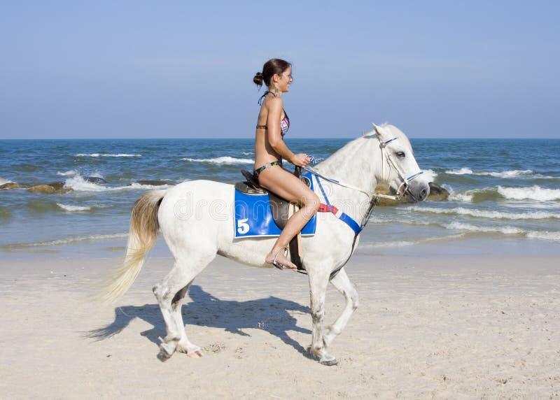 De ritten van het meisje op paard royalty-vrije stock afbeelding