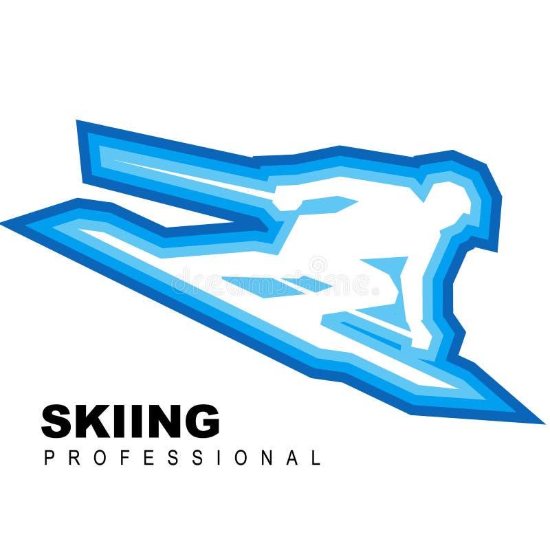 De ritten van het sportmansilhouet snel op ski stock illustratie