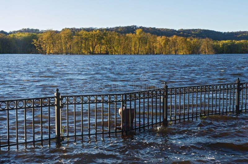 De Rivier Autumn Horizon van de Mississippi en Floodwater royalty-vrije stock foto's