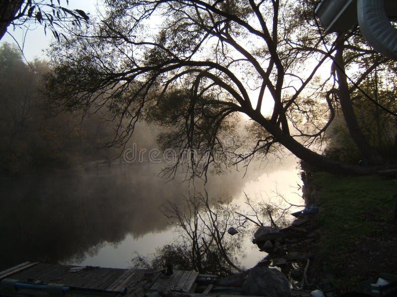 De rivier bij ochtend stock afbeeldingen