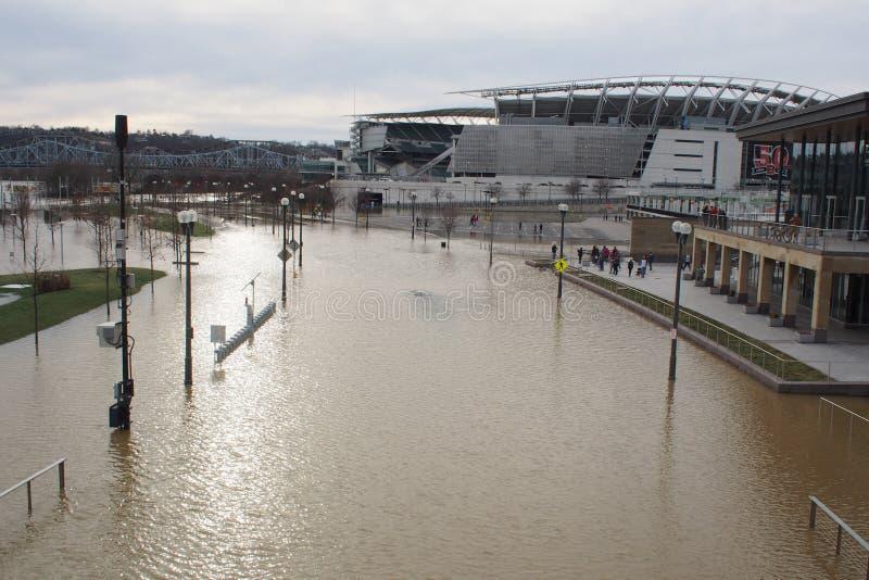 De Rivier die van Ohio 2018 in Cincinnati overstromen