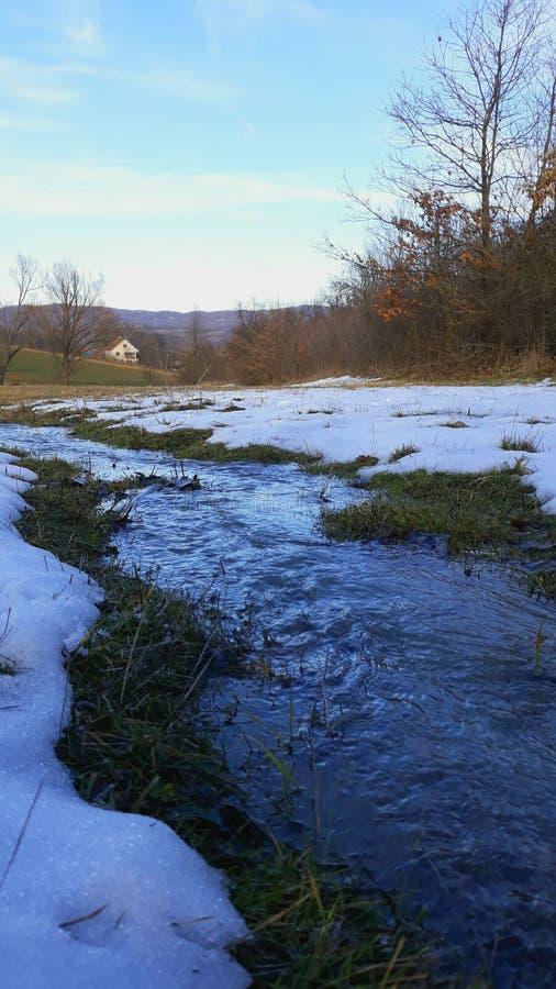 De rivier en de sneeuw van het huislandschap stock afbeelding