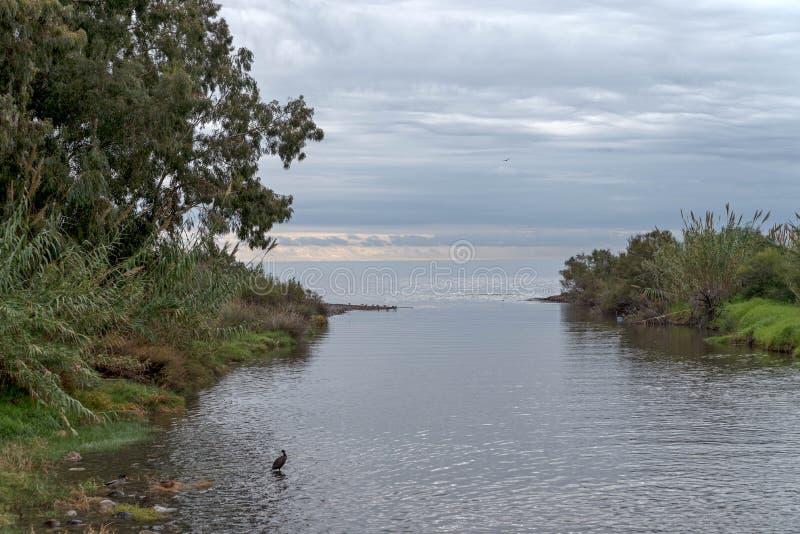 De rivier kust het overzees stock foto's
