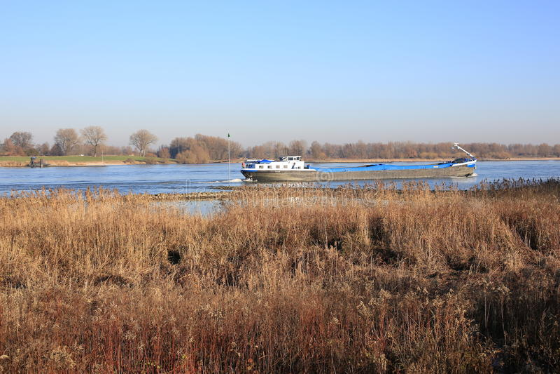 De Rivier Maas in de Provincie Gelderland, Nederland stock foto