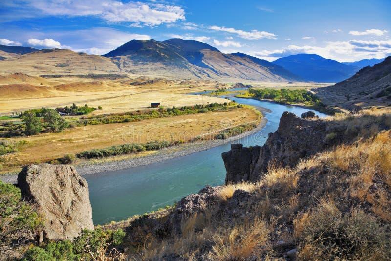 De rivier Missouri in de herfst stock foto