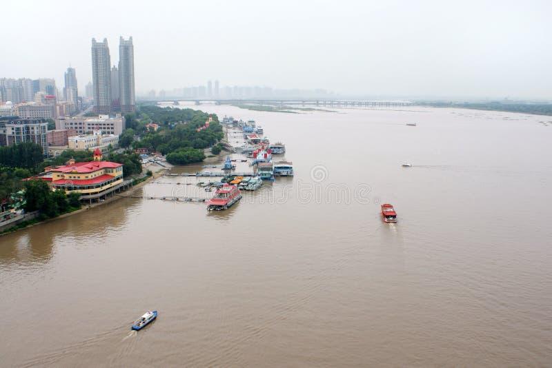 De rivier Songhua, Harbin, China stock afbeeldingen