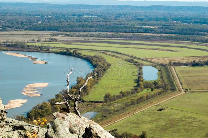 De Rivier van Arkansas van Petit Jean Mountain stock foto
