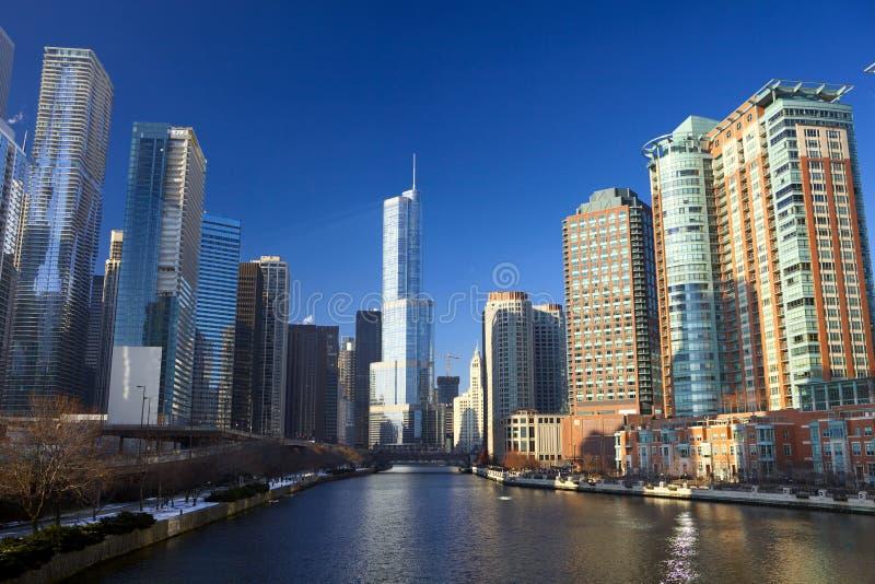 De Rivier van Chicago stock afbeeldingen