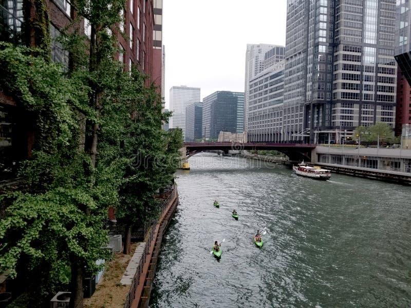 De rivier van Chicago met kayakers royalty-vrije stock afbeelding