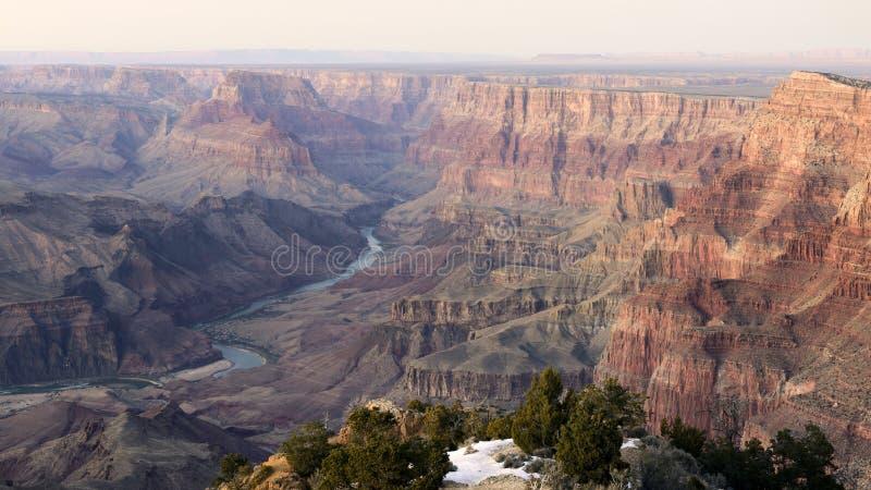 De Rivier van Colorado in Grand Canyon stock foto's