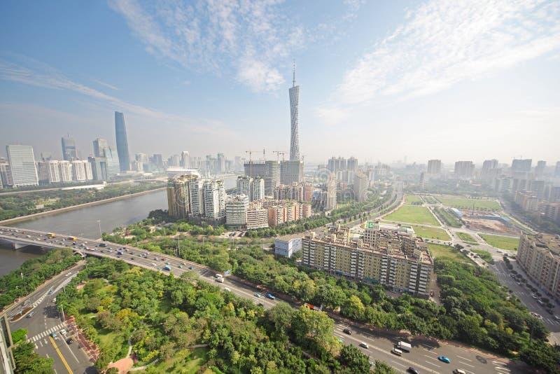 De rivier van de Parel van Guangzhou, de Toren van TV van het Kanton royalty-vrije stock fotografie