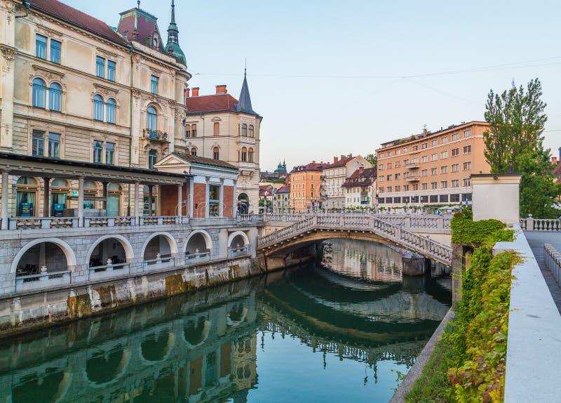 De rivier van Ljubljana in de Ochtend stock afbeeldingen
