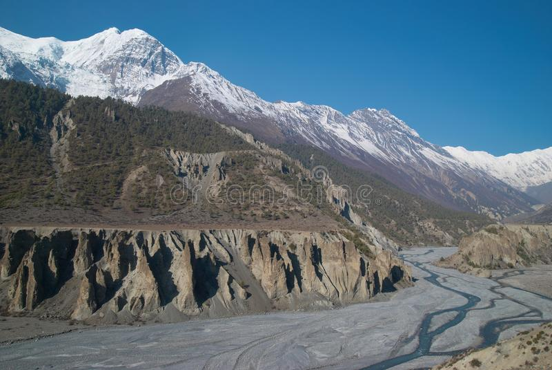 De rivier van Marsyangdi, Tibet. royalty-vrije stock fotografie