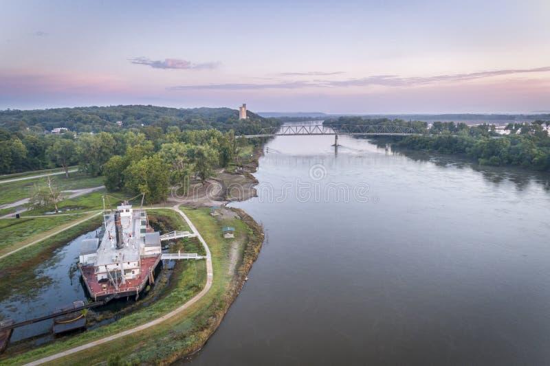 De Rivier van Missouri in Brownville, Nebraska stock afbeeldingen