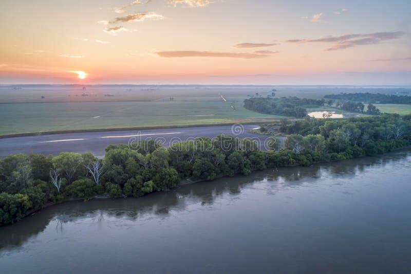 De Rivier van Missouri in Brownville, Nebraska stock afbeelding