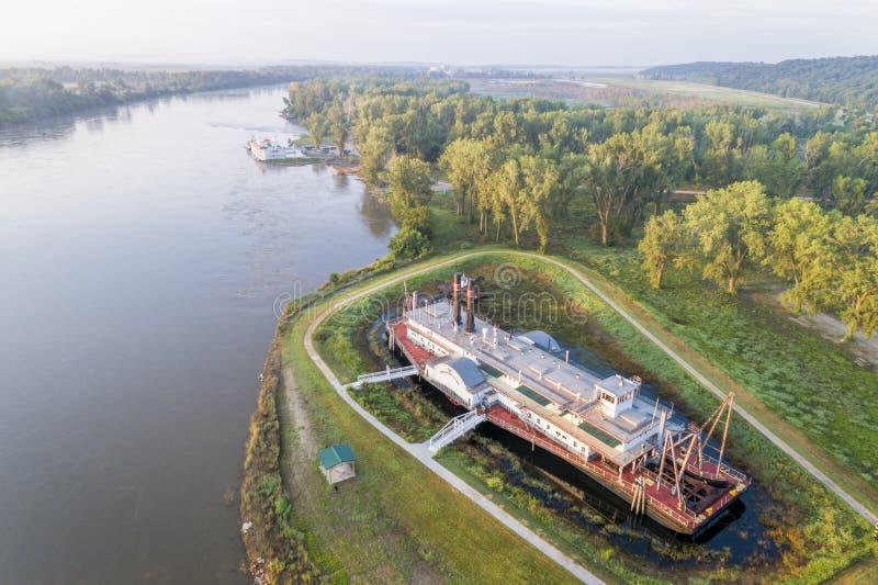 De Rivier van Missouri in Brownville, Nebraska stock foto