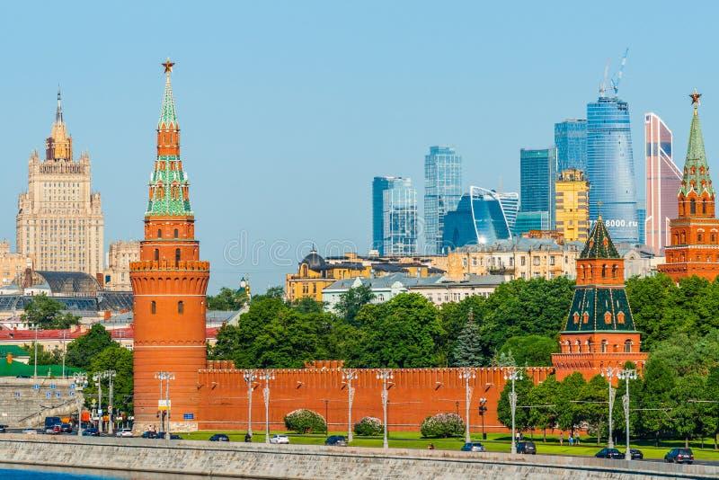 De rivier van Moskou en het Kremlin royalty-vrije stock fotografie