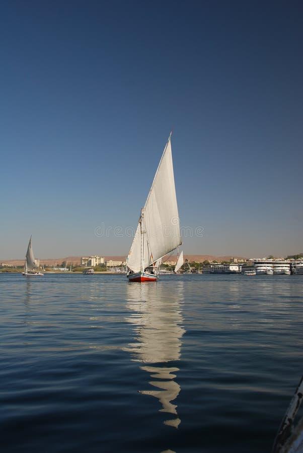 De rivier van Nijl in Aswan, Egypte stock afbeelding