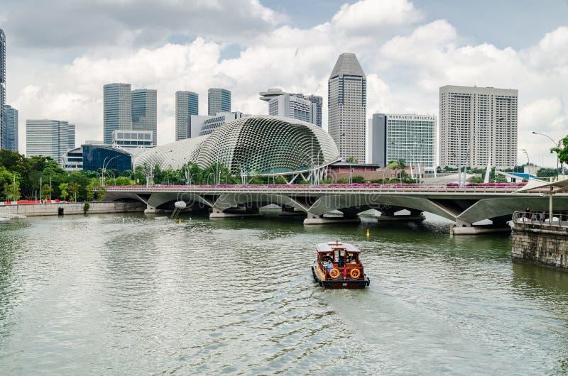 De rivier van Singapore en de Promenade royalty-vrije stock afbeeldingen