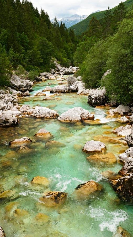 De rivier van Soca in Sloveni? royalty-vrije stock foto