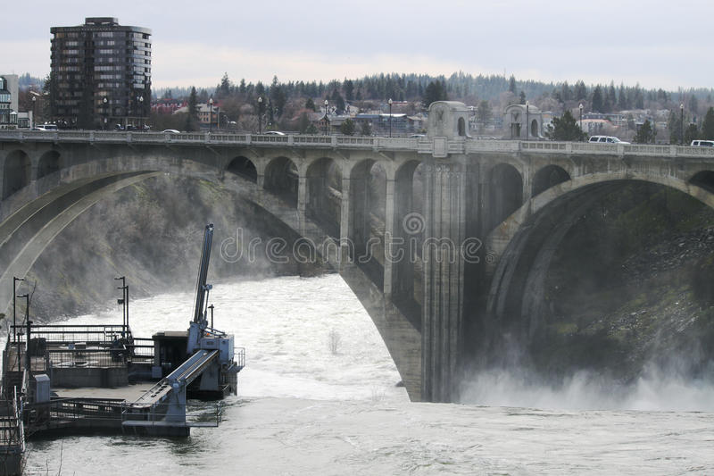 De rivier van Spokane stock afbeelding