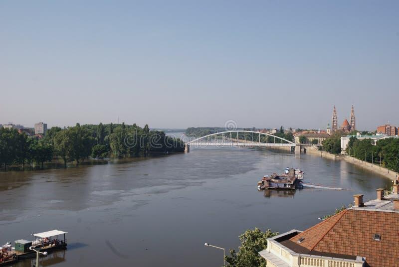 De rivier van Tisza, Szeged, Hongarije stock afbeelding