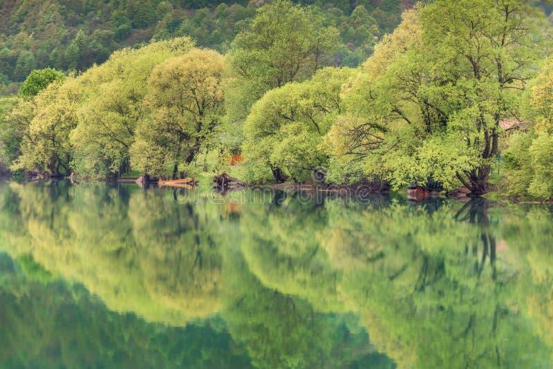 De rivier van Una in Bosnia stock foto's