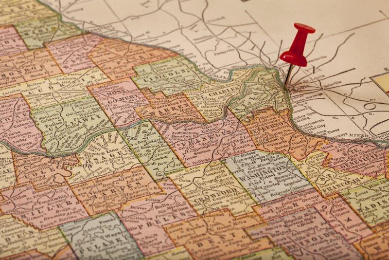 De Rivieren van de Mississippi en van Missouri op uitstekende kaart royalty-vrije stock afbeeldingen