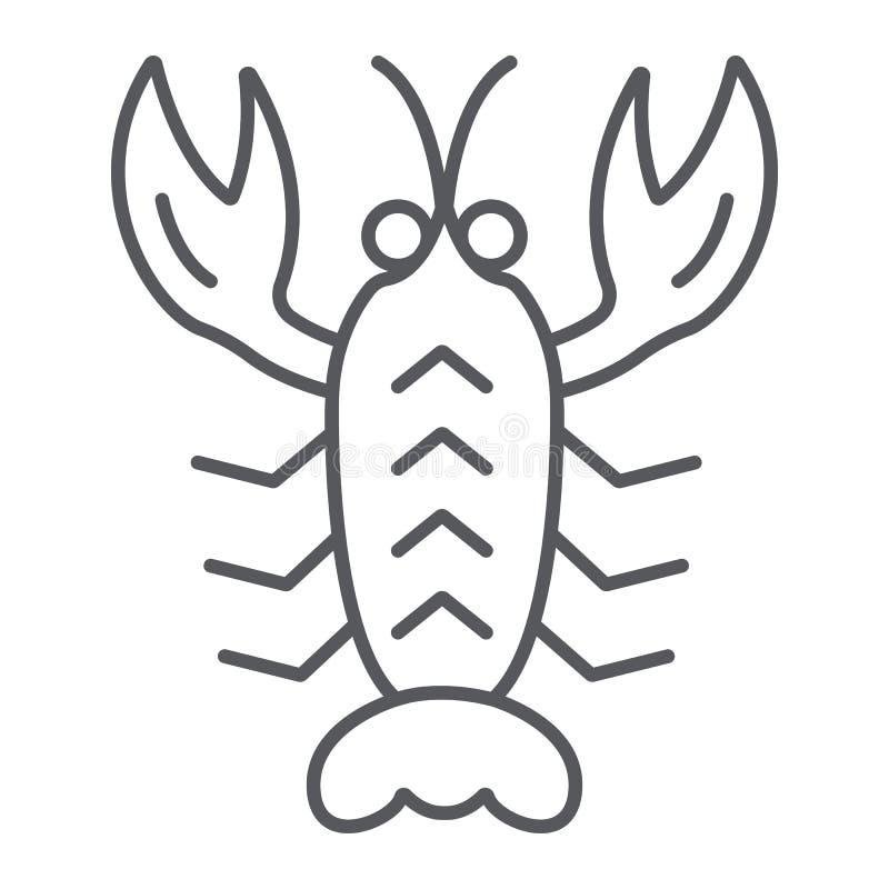 De rivierkreeften verdunnen lijnpictogram, overzees en voedsel, zeekreeftteken, vectorafbeeldingen, een lineair patroon op een wi vector illustratie