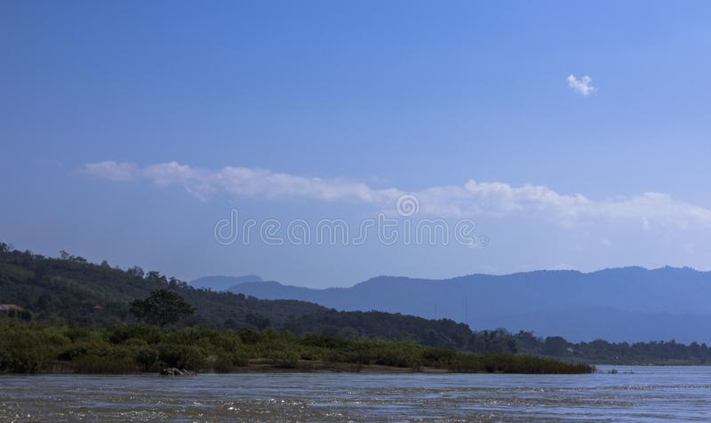 De riviermening van Laos, Mekong stock foto's