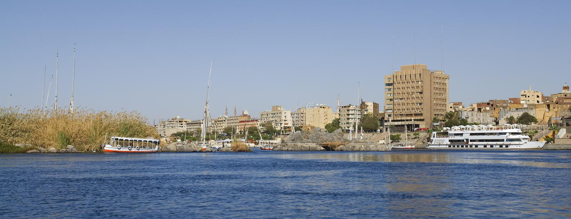De rivierNul in Assuan in Egypte royalty-vrije stock afbeeldingen