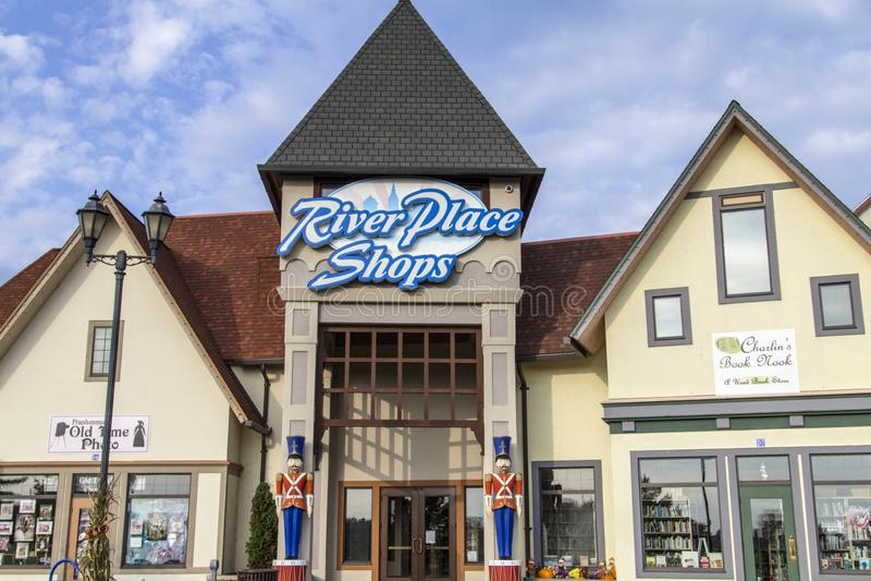 De de Rivierplaats van Frankenmuthmichigan winkelt Ingang stock foto