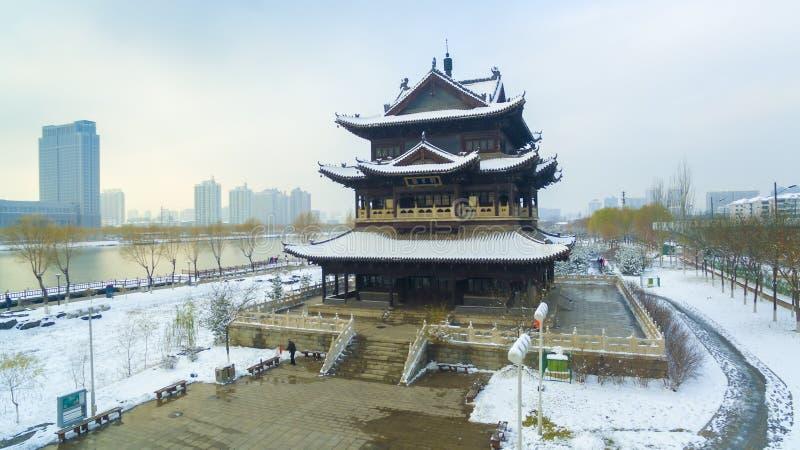 De riviersneeuw China van Tai-Yuan fenhe stock afbeeldingen