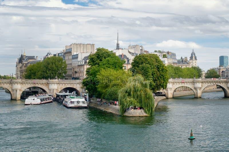 De rivierzegen en Ile DE La Cite in Parijs stock afbeelding