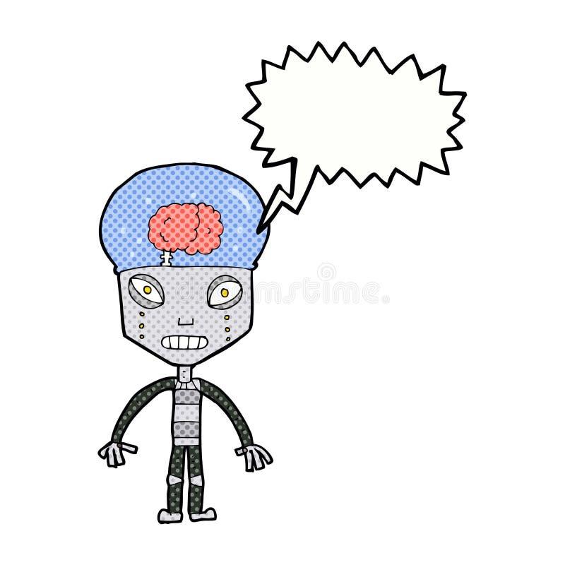de robot étrange de cartoonw avec la bulle de la parole illustration de vecteur