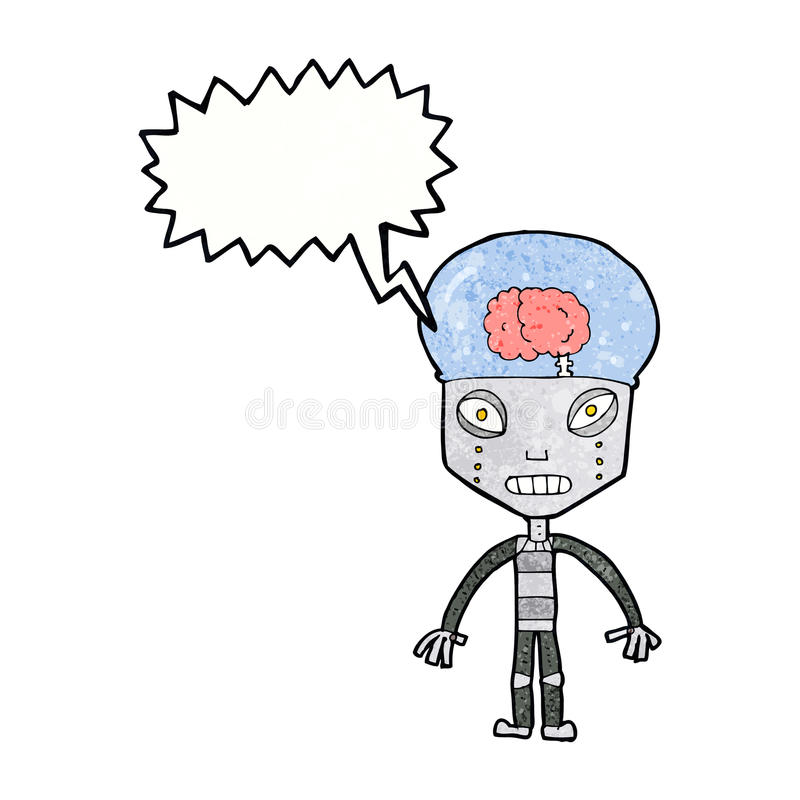de robot étrange de cartoonw avec la bulle de la parole illustration stock