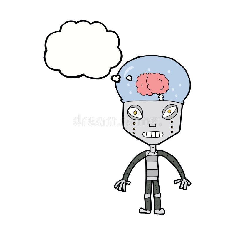 de robot étrange de cartoonw avec la bulle de pensée illustration libre de droits