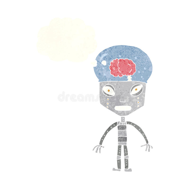 de robot étrange de cartoonw avec la bulle de pensée illustration stock